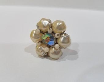 Handmade Up-cycled Vintage Ring Cream White Aura Borealis Silver Adjustable Ring
