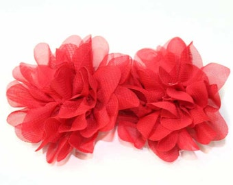 4 Red Mesh Brooch Flowers