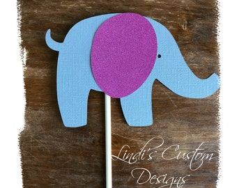 Elephant Cardstock Diaper Cake Topper, Glitter Pink and Gray Elephant Die Cut Baby Gift Toppers, Baby Shower Elephant Decor, Elephant Decor