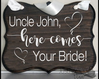 Here Comes The Bride Rustic Wedding Sign For Flower Girl Or Ring Bearer To Carry Down The Aisle - Rustic Sign Customizable To Fit Your Decor