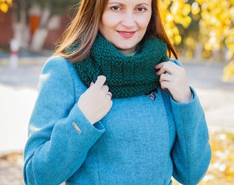 Wool cowl Winter cowl Wool snood Circular neckwarmer Knit cowl Snood scarf Knit infinity scarf Green cowl Knit cowl scarf Knitted cowl