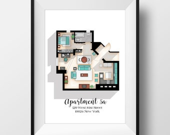 Seinfeld Poster   Seinfeld TV Show Apartment Floor Plan  Seinfeld TV Show  Layout  Apartment