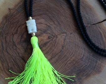 Black and Neon Tassel Necklace. Black matte beads Necklace. Neon Yellow Tassel Necklace. Owl Bohemian Necklace. Summer Necklace