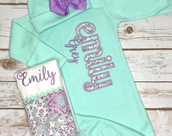 Baby Girl Coming Home Outfit - Newborn Baby Clothes - Custom Baby Clothes - Boutique Baby Girl Clothes - Mint Baby Gown