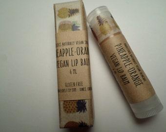 Vegan-Pineapple Orange Organic Vegan Lip Balm-tinted copper/sparkly-Gluten Free-Cruelty Free-4ml