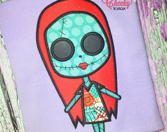 Sally Face Shirt - Sally and Jack Skellington Embroidered Shirt - Nightmare Before Christmas - Horror Movie - Scary Movie