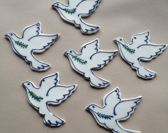 Peace Dove Ornament  with outline  Porcelain Hospice Dove. Wedding favor - Stoneware Pottery