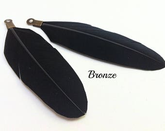 Black feather, set of 2