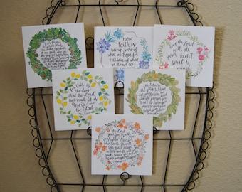 Bible Cards - Bible Verse Cards - Scripture Cards - Scripture Card Set - Memory Cards - Memory Verse Cards - Wreath Cards - Christian Cards