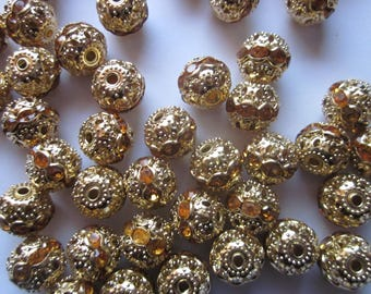 Gold Brass Rhinestone Beads 10mm 14 Beads