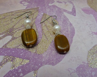 Tigers Eye and Pearl Drop Earrings-Coco