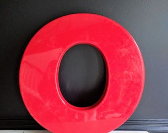 Acrylic Large Red Letter O - Industrial Vintage Salvaged Letters