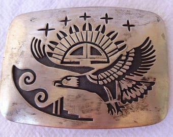 Heavy 70g Vintage HOPI Sterling Silver Overlay BELT BUCKLE Sun Face & Eagle