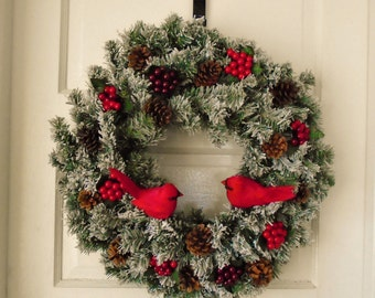 Snowy Winter Cardinal Wreath