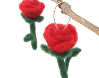Red Rose Felt Flower - needle felted rose ornament - Valentine decoration - Love ornament