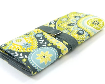 SHORT Knitting Needle Case - Intermission - Gray Pockets for circular, double pointed, interchangable or travel