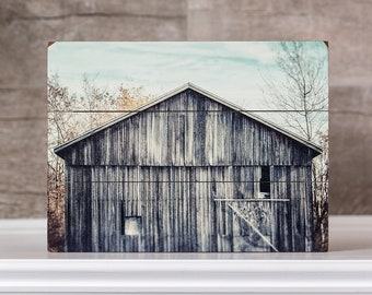 Wood Farmhouse Decor Sign Teal Aqua Grey Autumn Barn Rustic Farmhouse Home Decor Wood Planked Sign Shabby Chic Wall Art Old Barn Picture.