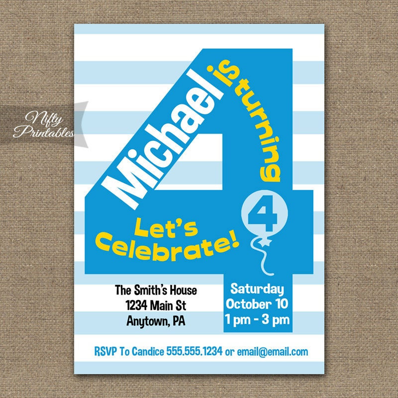 4th Birthday Invitations Printable Boys 4th Birthday