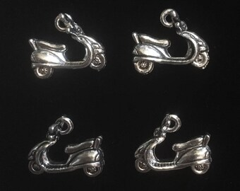 4 Silver Pewter Scooter Charms, Motor Scooter Charms, Vespa Charms  (qb140)