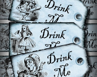 Blue Drink Me Alice in Wonderland Favor Tags Printable Instant Download Digital Collage