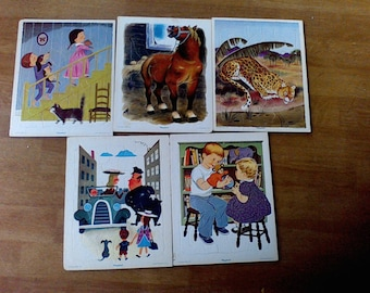 5 Vintage Playskool puzzles, Golden Press, Inc, Printed in the USA, vintage toys