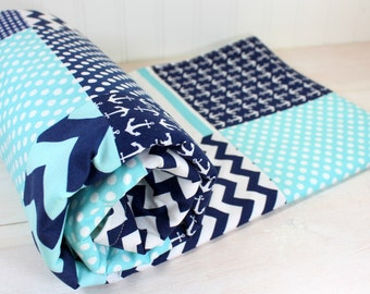 Baby Blanket  Minky Baby Blanket Nursery Decor Baby Shower Gift Baby Quilt Baby Bedding Nautical Anchors Aqua Blue Navy Blue White Baby Boy