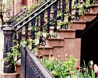 New York City Photography - Urban Home Decor - Stairs Photograph - Front Steps - West Village Print NYC Architecture Photo SATC Art