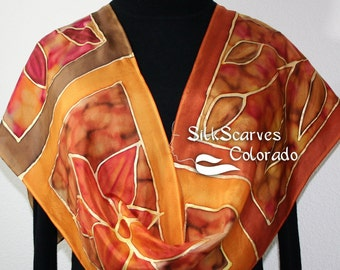 Silk Scarf Brown Taupe Gold Hand Painted AUTUMN IMPRESSIONS, in 2 SIZES, by Silk Scarves Colorado. Floral Scarf. Hand Dyed Scarf 100% silk