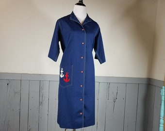 Vintage sheath dress Sailor anchor roadrunner novis denne novelty pinup rockabilly