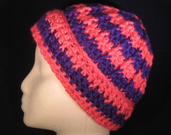 pink and purple child's winter hat