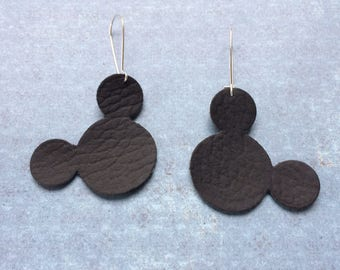 Mouse earrings, black leather mouse earrings, black leather Mickey