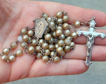 Vintage Catholic Rosary Sterling Silver Crucifix & Centerpiece With Faux Pearls From the 1950's