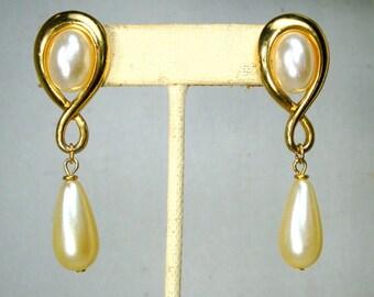 Pearl & Gold Teardrop Dangle Earrings, Post, Pierced Top