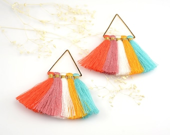Cotton Tassels, Triangle Multi Tassel in Tropical Mix, 2 x 2 Inch, Multi Tassels for Jewelry Making, Tassel Earrings, Tassel Necklaces