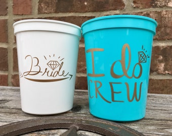 I Do Crew Cups   Bachelorette Party Cups 16 0z   Bridal Party Stadium Cups   Robbin Egg Blue I Do Crew Cup ON SALE!!!