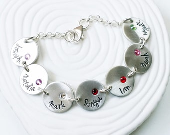 Birthstone Bracelet - Personalized Charm Bracelet - Name and Birthstone Mother's or Grandmother's Bracelet - Mother's Day Gift