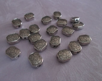 10 small rectangle acrylic beads silver 10 x 9 mm