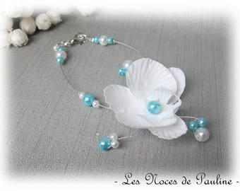 Wedding white and turquoise Orchid Butterfly Esther bracelet