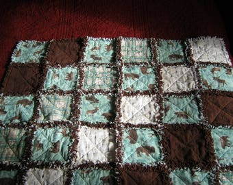 "One of a Kind  38"" x 38"" Green, Brown and Cream Hunting Themed Flannel Rag Quilt"
