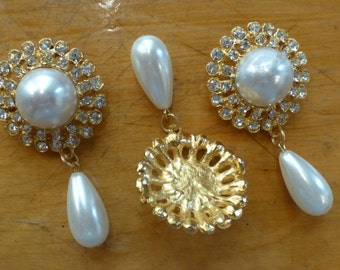 Vintage Rhinestone & Pearl Pins No1006