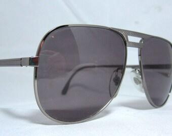 Vintage Sunglasses 80s Silver Gray Aviators