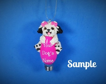 White and Black Shih Tzu Dog Christmas Holidays Light Bulb Ornament Sally's Bits of Clay OOAK PERSONALIZED FREE with dog's name