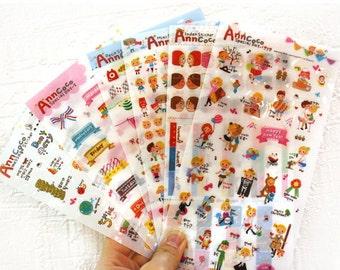 Deco Translucent Sticker Set - Ann Coco - Cartoon Style - 6 Sheets