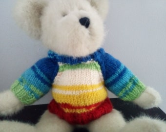 Teddy Bear Sweater - Hand knitted - Bright Stripes - fits 10 - 12 inch Bear