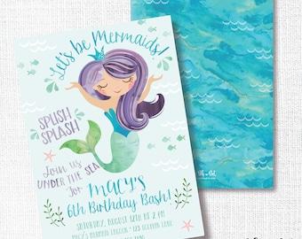 Mermaid Birthday Party Invitation, Printable, Under The Sea Invite, Splish Splash Bash, Aqua, Purple, Watercolor, Pool, Beach
