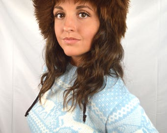 Vintage Genuine Italian Brown Lamb Skin Fur Hat - Made in Italy