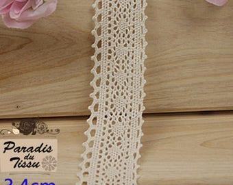 x 5 m Ribbon lace 3.4 cm cotton Beige C2-23