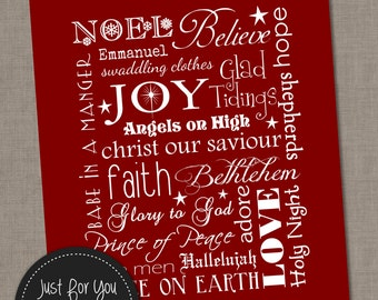 Christmas Wall Art Typography Subway Art - Red - 8x10 - YOU PRINT - Printables, Sign, Poster, Print, Christ, Baby Jesus, Carols, Religious