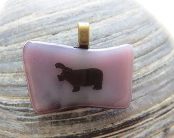 0051 - Hippo Fused Glass Pendant