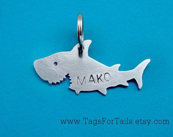 Shark Pet ID Tag -  Custom Dog or Cat ID Tag - Handmade
